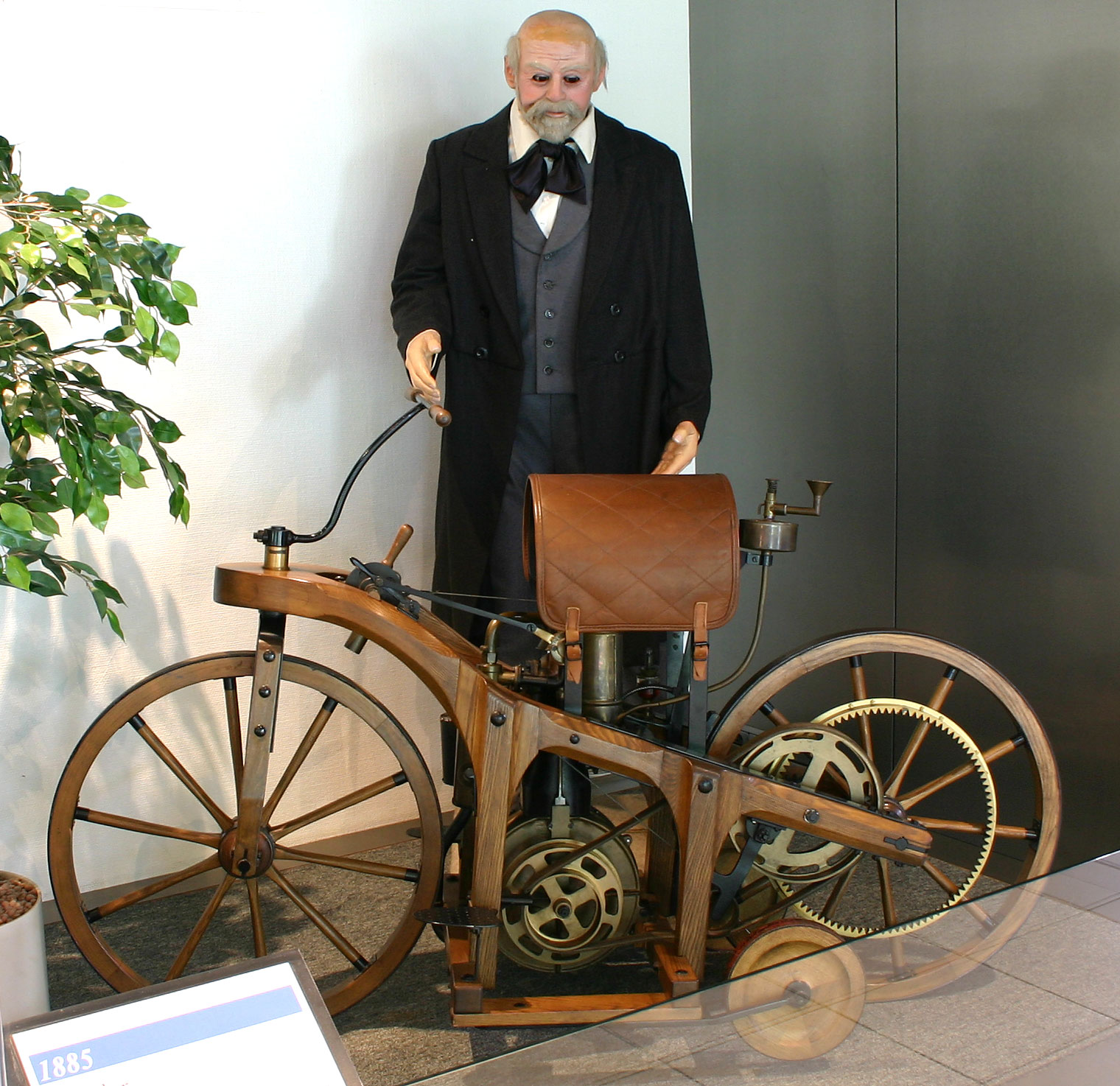 Replica of the first motorcycle model by Daimler and Maybach.