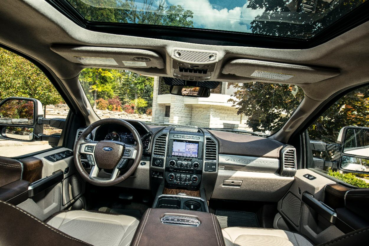 The interior of the Ford F-450 Super Duty Limited.