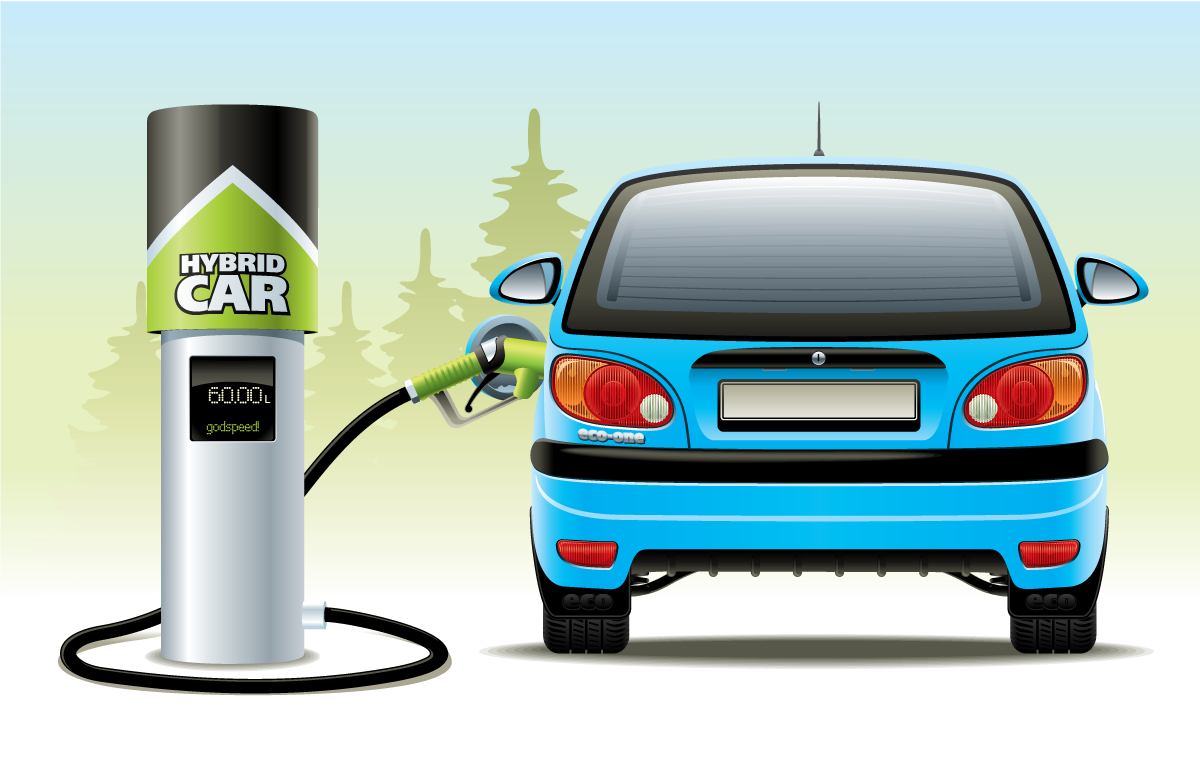 Recharging Or Refueling A Hybrid Car.