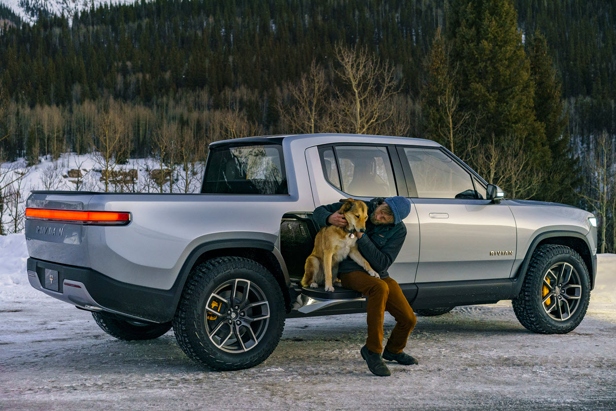 Another full-electric pickup example is the Rivian R1T.